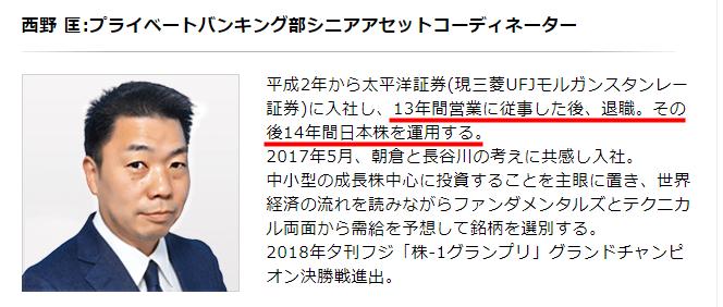 アセットマネジメントあさくらの西野匡